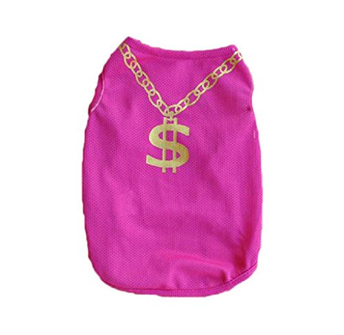Voberry Small Dog Shirt, Fashion Pet Puppy Clothes Mesh Costumes Pet Dog Cat Cute Necklace T Shirt (XS, Hot Pink)
