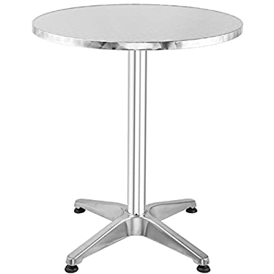 """Hromee Bistro Bar Table 23.5"""" Aluminum Square Tabletop for Indoor Outdoor Silver"""