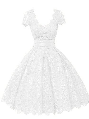 A Elfenbein Kurzarm V Ausschnitt Spitze Kurz Linie Partykleid Damen Abendkleid Ballkleider PzIqn