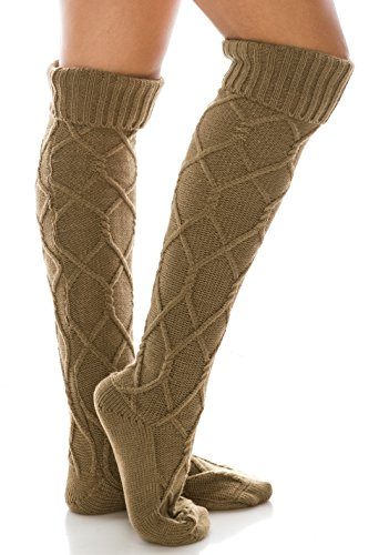 Diamond Knit Extra Long Boot Socks, Knee High Warm Solid Color Cuffed Leg Warmers (Camel Brown)