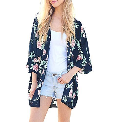 Towallmark Women Boho Floral Printed T-Shirt Chiffon Beach Shawl Kimono Long Cardigan
