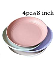 "Wheat Straw Plastic Plates Dinnerware Set/Reusable-Unbreakable Dinner Plate/Eco Friendly-Dishwasher & Microwave Safe, BPA Free and Healthy Cereal Dishes/Kids-Toddler & Adult (7.8"" Plate x 4pc)"