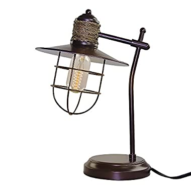LNC 1-light Vintage Industrial Iron Hemp Rope Glass Table Lamp