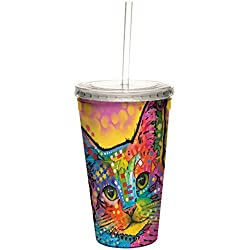 Dean Russo Cat-tastic Double-Walled Cool Travel Cup with Reusable Straw, 16-Ounce - Cute Gift for Kitten and Kitty Lovers - Tree-Free Greetings 98188