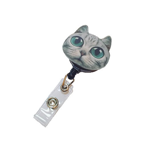 Big Eyes Galaxy Nerdy Cat Decorated Retractable Badge Reel ID Holder with Clip Backing -