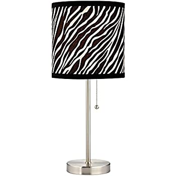 Attractive Pull Chain Table Lamp With Zebra Drum Shade