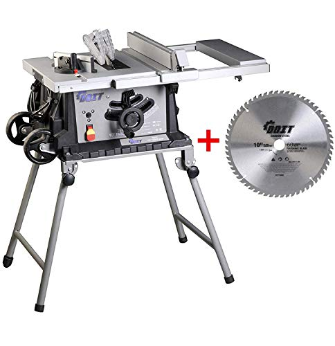 Dobetter Portable Table Saw,10 Inch Bench Saw,15-Amp Jobsite Electric Saw with Wheeled Folding Stand and One 60-Tooth Blade -DBTS10