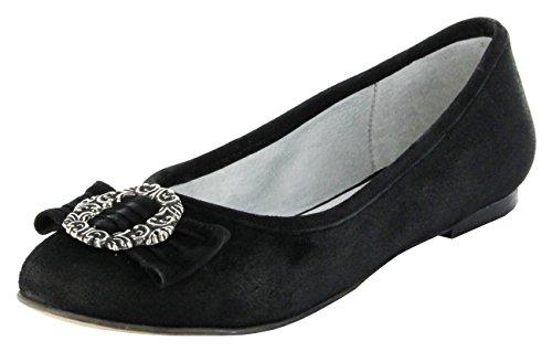 Bergheimer Trachtenschuhe Ballerinas schwarz Leder Ziegenvelour Damen Schuhe Christl, Farbe:schwarz;Größe:42