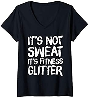 Womens It's Not Sweat It's Fitness Glitter Funny Fitness V-Neck T-shirt | Size S - 5XL