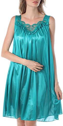 Embroidered Sleepshirt (Venice Womens' Silky Looking Embroidered Nightgown 06N 4X-Large Teal)