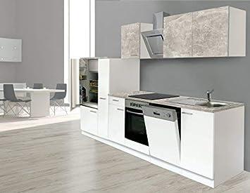 Respekta Einbau Kuche Kuchenzeile Kuchenblock 310 Cm Weiss Beton