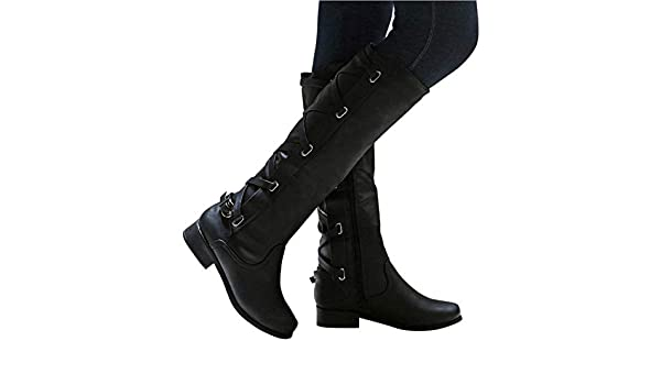 Amazon.com | Botines Shoes Woman Buckle Roman Riding Knee High Cowboy Boots Women Casual Boots Botas, Black, 5.5, US | Knee-High