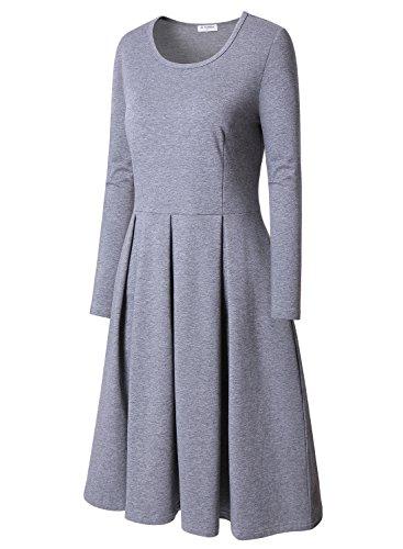 Une Gris Fluide ligne Femme Casual Robe Bulouts Longues Plisse Manches Tunique Trapze HP7XZwFq