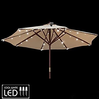 Outdoor Umbrella With Lights Gemmy patio umbrella solar led lights amazon workwithnaturefo