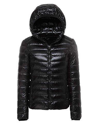 CHERRY CHICK Packable, Water-Resistant, Shiny Women's Ultralight Short Down Jacket with Hood (M, Shiny Black)