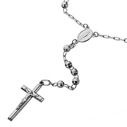 14K White Gold Chain Cross Necklace DC Bead Rosary Necklace (16, 18, 20, 24, 26''), 18'' by Double Accent (Image #2)