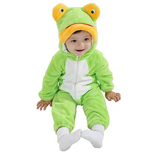 (Zhoumei Baby Girls Hooded Pajamas Boys Onesie Outfits Frog Halloween Chirstmas Costume 90)