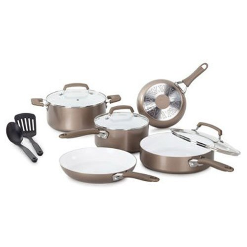 WearEver C944SA Pure Living Nonstick Ceramic Coating Scratch Resistant PTFE PFOA and Cadmium Free Dishwasher Safe Oven Safe Cookware Set, 10-Piece, Gold ()