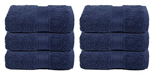 Hand Towels 16x28 Night Sky Navy-100% Pure Ringspun Cotton-Luxurious Rayon Trim -Ideal for Daily Use -Premium Quality Luxury Cotton Absorbent and Super Soft Towels, Each Towel Weigh 580 GSM(Set of 6)