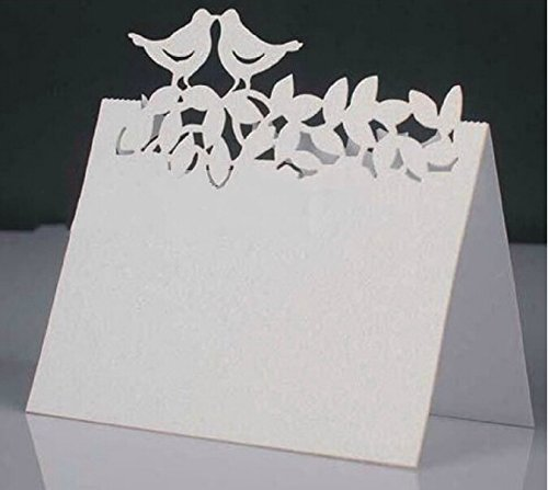Worldoor® 50 Laser cut Love Birds place card, wedding party Table Seating Numbers card, Party Decoration