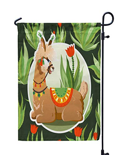 (ROOLAYS Outdoor Seasonal Garden Flags Stands Llama Cactus Plants Pattern Botanical Background Greeting Card Alpaca Double Sided Colorful Holiday Yard Flag 12X18 inches)