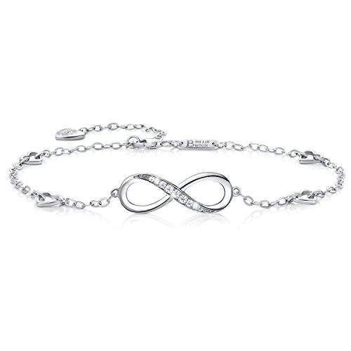 Billie Bijoux Womens 925 Sterling Silver Infinity Endless Love Symbol Charm Adjustable Anklet Bracelet, Large Bracelet, Gift for Mother's Day (A- Silver) ()