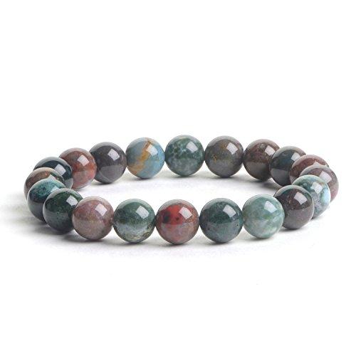 iSTONE Natural Gemstone Indian Agate 10mm Round Beads Healing Power Stretch Bracelet 7.5 Inch