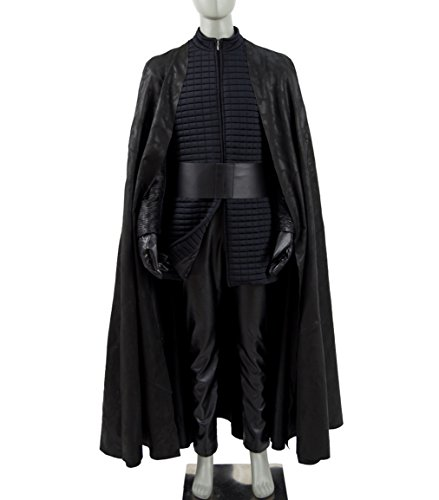 Last Samurai Costume (Mens Balck Robe Killer Knight Kylo Samurai Full Set Cosplay Capes Halloween Costumes)