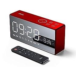 OOLIFENG Digital Alarm Clock with Snooze, Adjustable Brightness Dimmer, 12/24 Hr, for Small Desk Bedroom Bedside Clocks,Red