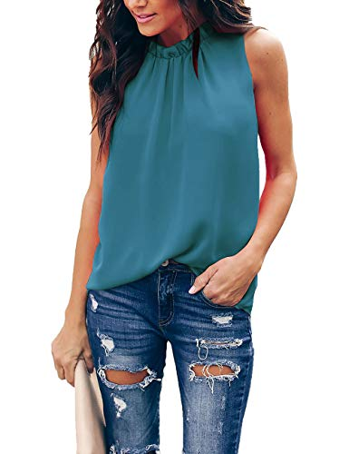 Pop lover Women Summer Chiffon Blouses Sleeveless Shirt O Neck Pleated Tank Halter Tops Blue Green S ()