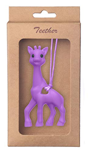 Giraffe Soft Baby Teether Toy, BPA-Free Silicone Infant Teething Relief, Attractive Chew Toys for Babies, and Toddlers | Pendant Necklace Baby Food Grade Teething Hanging Toy (Purple) (Sophie The Giraffe Best Price)
