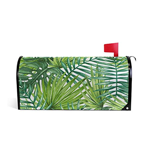 AUUXVA CUTEXL Magnetic Mailbox Covers Watercolor Tropical Palm Leaves Mailbox Letter Post Box Cover Wrap Garden Yard Home Decor Standard Size - Leaves Mailbox Magnetic Cover
