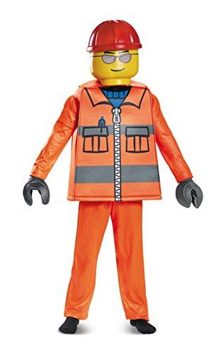 LEGO Construction Worker Deluxe Costume, Orange, Small (4-6) -