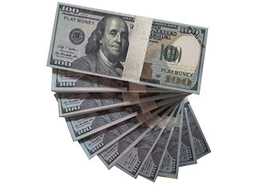 Paper Money Motion Picture Money 100 Dollar Bills Movie Prop Money Full Print 2 Sided Realistic Money Stacks,Copy Money Play Money That Looks Real for Movie, TV, Videos, Birthday Party