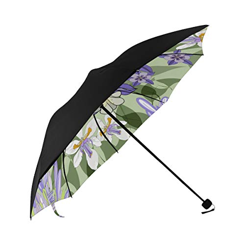 Iris Hand Painted Vintage Spring Compact Travel Umbrella Sun Parasol Anti Uv Foldable Umbrellas(underside Printing) As Best Present For Women Sun Uv Protection