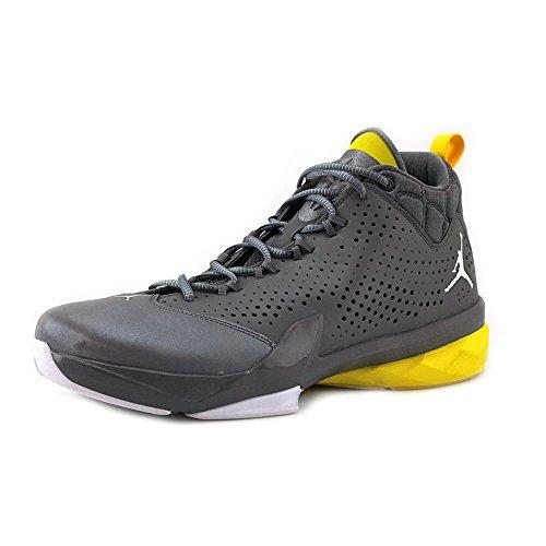 (Nike Jordan Men's Jordan Flight Time 14.5 Cool Grey/White/Vbrnt Yllw/Wht Basketball Shoe 10 Men US)