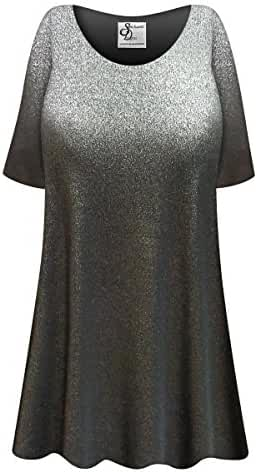 Shiny Black Plus Size Supersize Poly/Cotton Extra Long T-Shirt