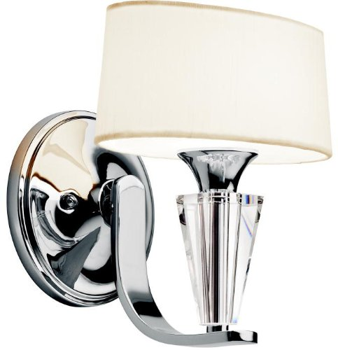 Kichler 42028CH, Crystal Persuasion Crystal Wall Sconce Lighting, 1 Light, 60 Watts Halogen, Chrome