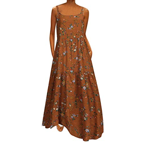Dress Floral Printting Off Shoulder Split Party Bodycon Slim Long Dress Women (XL,Brown)