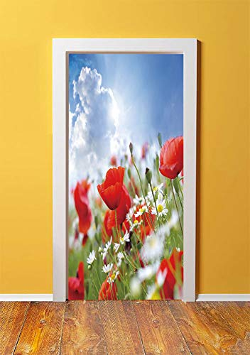 Meadow Rim - Country Decor 3D Door Sticker Wall Decals Mural Wallpaper,Idyllic Spring Meadow with Poppy and Daisy Flowers Sunny Sky Clouds Garden Decorative,DIY Art Home Decor Poster Decoration 30.3x78.11877,Multi