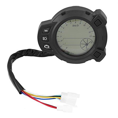 Motorcycle Digital LCD Speedometer, Motorcycle Odometer Tachometer Speedometer Speed Gauge Instruments, 7 Color Meter:
