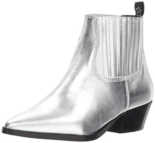 Steve Madden Women's Westie Western Boot Silver Leather 7 M US -