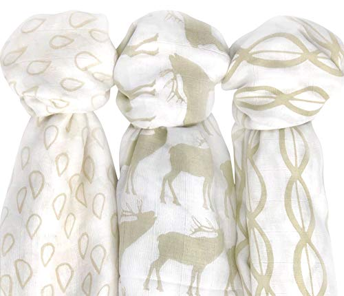 Bamboo Muslin Swaddle Blankets Large (47x47), Super Soft Breathable Bamboo Muslin (3 Pack), Woodland Collection, Gender Neutral