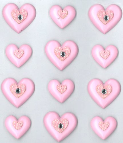 Jolee's Boutique Cabochons Dimensional Stickers, Pink Hearts