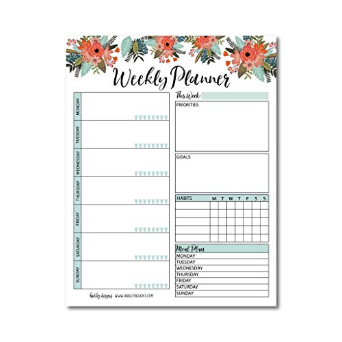 (Floral Undated Weekly Family Calendar Planner Pad, Mom Monthly to Do List Desk Paper Notepad, Week Day Weekend Organizer, Personal Goal Habit Tracker, Kids School Work Productivity, 50 Tear Off Pages)