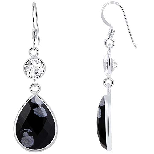 16.5 Ct Snowflake Obsidian & White Topaz 925 Sterling Silver 2-Tier Dangle Earrings