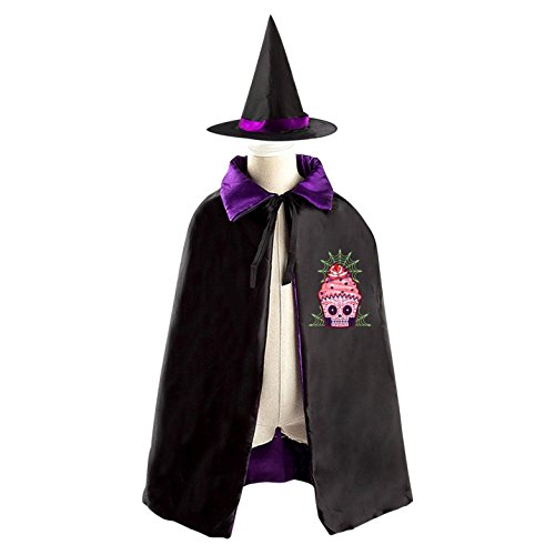 Sugar Skull Homemade Costume (Cup Cake Sugar Skull Reversible Halloween Cape and Witch Hat for Kids purple)