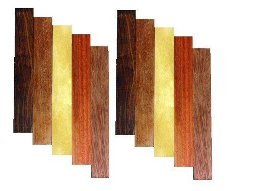 Pen Blank Variety Pack- Bloodwood, Cocobolo, Padauk, YellowHeart, Jatoba (10-Pack)