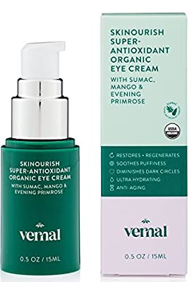 Vernal SKINourish - Super Antioxidants Organic Eye Cream for Puffiness, Wrinkles, Dark Circles With USDA Cert. Organic Primrose, Mango, Cocoa & Aloe - Best Natural Anti Aging Eye Cream - 1oz