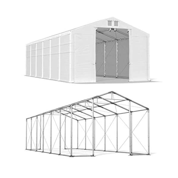 Das Company Tendone Deposito 8x12x4m Tendone Bianco Impermeabile 560g/m² Tenda da stoccaggio Rinforzo Gazebo Magazzino… 4 spesavip